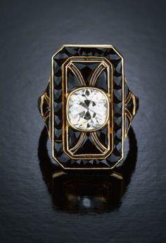 Black onyx Art Deco ring.