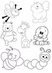 Art Drawings For Kids, Drawing For Kids, Cartoon Drawings, Easy Drawings, Animal Drawings, Art For Kids, Animal Coloring Pages, Colouring Pages, Coloring Books