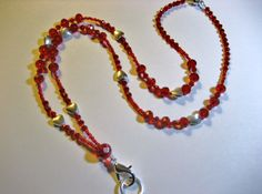 Beaded Breakaway Red Faceted Crystal With Silver by rockmybeads