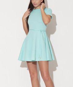 Look what I found on #zulily! Mint Tie-Waist Fit & Flare Dress by Katrus #zulilyfinds