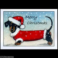 Dachshund Dog in snow art painting pack of 6 Christmas cards by Suzanne Le Good Christmas Animals, Christmas Dog, Vintage Christmas, Christmas Crafts, Merry Christmas, Christmas Dachshund, Dachshund Art, Daschund, Dachshund Drawing