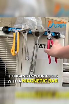 Magnetic Rack Tool Organizer 😍 Magnetic Rack Tool Organizer 😍 Save time and energy searching for your missing tools while work Garage Tool Organization, Diy Garage Storage, Shop Storage, Storage Ideas, Wall Spice Rack, Magnetic Knife Rack, Make Up Organizer, Popular Woodworking, Cool Items