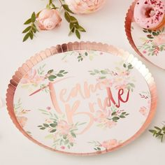 Rose Gold Floral Team Bride Hen Party Paper Plates by Ginger Ray, the perfect gift for Explore more unique gifts in our curated marketplace. Rose Gold Paper, Gold Foil Paper, Rose Gold Foil, Baby Shower Party Deko, Babyshower Party, Hen Party Decorations, Bridal Shower Decorations, Party Plates, Party Tableware