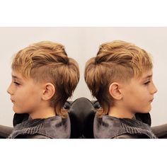 """""""Mohawk Mullet for this cool guy by our in house barber Liz.  #mohawk #mullet…"""