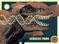 "Jurassic Park - Guillaume Morellec ---- Art featured in Hero Complex Gallery's ""Imagined Worlds -- tribute to Spielberg, Jackson, Nolan, Carpenter, and Cameron Jurassic Park Trilogy, Jurassic Park Poster, Jurassic World 2015, Jurassic World Dinosaurs, Tim Burton, Aliens, Park Art, Prehistoric Creatures, Tyrannosaurus"