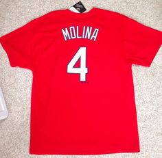 "New$28 ST LOUIS CARDINALS YADIER MOLINA #4 T-SHIRT ""Jersey""Look Cotton Majestic #Majestic #StLouisCardinals"
