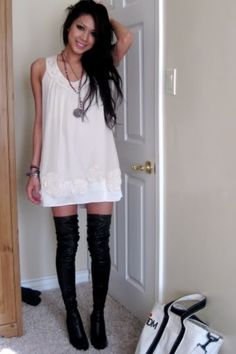 I love thigh high socks with casual dresses