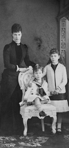 Empress Maria Feodorovna of Russia with Grand Duchess Xenia Alexandrovna Romanova of Russia and Grand Duke Mikhail Alexandrovich Romanov of Russia. Tsar Nicolas Ii, Maria Feodorovna, Grand Duchess Olga, House Of Romanov, Grand Duke, Imperial Russia, Animals For Kids, Photos, Pictures