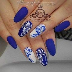 2019 Charming Latest Nail Designs – Naija's Daily – Nagel Trends Latest Nail Designs, Cute Nail Art Designs, Flower Nail Designs, Manicure Nail Designs, Nail Manicure, Blue Nails, My Nails, Nagellack Trends, Stylish Nails