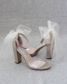 Lucite GOLD Shimmer Block Heel Sandals with BACK TULLE BOW Wedding Shoes Block Heel, Gold Block Heel Sandals, Clear Block Heels, Wedding Shoes Heels, Bow Heels, Heeled Sandals, Wedding Sandals For Bride, Bridal Sandals, Bridesmaid Shoes
