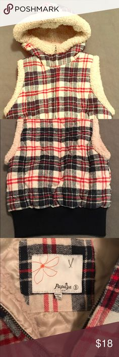 Cute & Cozy, Sherpa-Lined, Plaid Vest by Papaya Worn a Couple Times; No Signs of Wear Washed & Hang-Dried  Very Cute & Warm, Hooded Vest! Sherpa-Lined; Sleeveless; Pretty, Red, White & Navy Blue Plaid Size Small Brand is Papaya **Bundle & Save!! **Dog-Friendly Home Papaya Jackets & Coats Vests