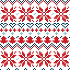 Blue and red Christmas Nordic seamless pattern vector image on VectorStock Snowflake Ornaments, Christmas Snowflakes, Christmas Cross, Christmas Photos, Xmas, Cross Stitch Letters, Vintage Patterns, Stitch Patterns, Etsy Shop