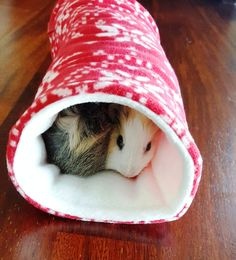 Guinea pig fleece tunnel - small pet tunnel - fleece pet bed - reversible fleece - red and white - snowflake design