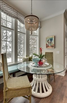 Round Glass Kitchen Table Wicker Chairs Trendy Family Home