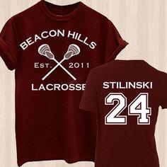 Stiles Stilinski 24 Teen Wolf Beacon Hills Inspired Lacrosse Adult T Shirt #Gildan #TShirt