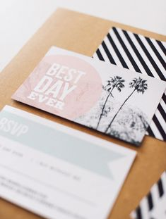 Palm Springs themed wedding invitation suite | @Michaela | Hey Look | see more on: http://burnettsboards.com/2014/04/urban-summer-wedding/ #palmsprings #weddinginvitation