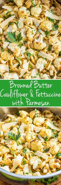 Browned Butter Cauliflower and Fettuccine with Parmesan - The roasted cauliflower is so good tossed with buttery noodles and cheese. Easy and ready in 30 minutes!