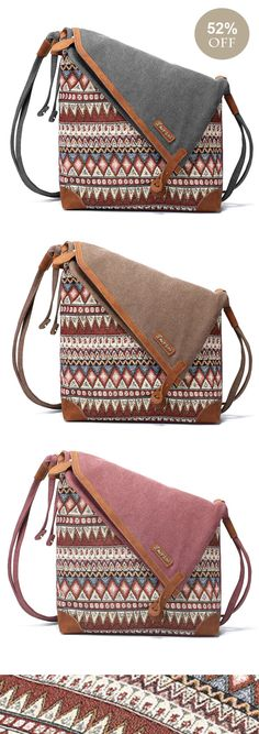 Brenice National Printing Canvas Shoulder Bags Vintage Bohemia Button Crossbody Bags  #messagerbags #bohostyle #bohemia #pattern