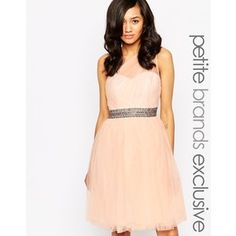 Little Mistress Petite One Shoulder Tulle Prom Dress With Waist Embellishment