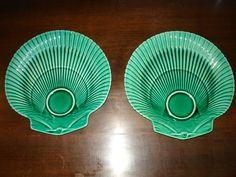 Wedgwood majolica greenware scallop shaped plates