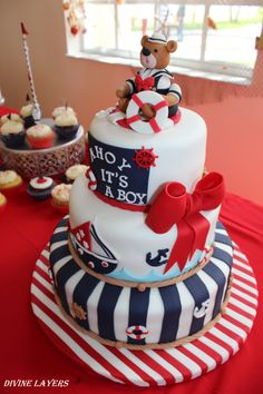 Ahoy It's a Boy! Baby Shower cake                                                                                                                                                                                 Más