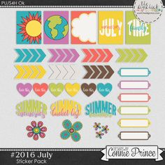 #2016 July Sticker Pack by Connie Prince. Includes 30 stickers. Saved in PNG format. Also includes printable PDF file. Scrap for hire / others ok.