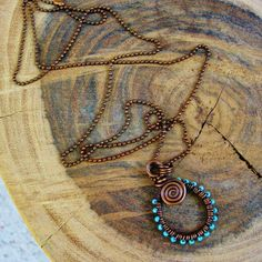 Antiqued Copper Wire Wrapped Spiral Pendant by BearRunOriginals