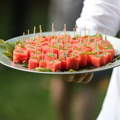 Watermelon cubes with mint leaves were hand passed during the cocktail hour between the ceremony and reception