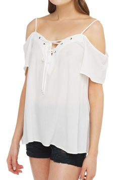Top | White Lace Up top | Spring Shirts -AKIRA