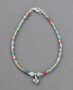 Multi-Color Beaded Heart Anklet by JewelryArtByGail on Etsy
