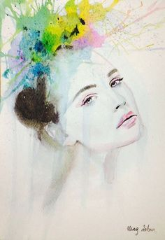 Artist Watercolour Ecoline Painting Modern Girl Portrait Abstract MAG ZEBEN A4 http://stores.ebay.co.uk/magzeben/