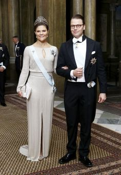 Crown Princess Victoria in a wonderful silvery white gown at last night's dinner.