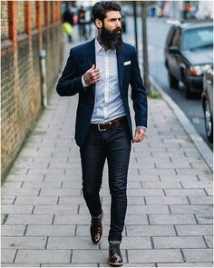 I chose this for the contrast between the suit and shirt. from a distance it still looks like a traditional suit because of the similar wash in the jeans.