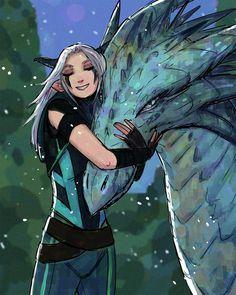 Older Rayla and Zym. Rayla Dragon Prince, Prince Dragon, Dragon Princess, Rayla X Callum, Dragons, Dc Anime, Anime Group, An Elf, Avatar The Last Airbender