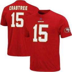 NFL Mens San Francisco 49ers Michael Crabtree The Eligible Receiver Bright Cardinal Short Sleeve Basic Crew Neck Tee by Majestic. $22.99. 100% Cotton. Short Sleeve Basic Crew Neck Tee. Screenprint. Fauz Twill Detail With Speciality Puff Ink. Honduras. Show Your Favorite Nfl Player You Are Their Number 1 Fan In This Eligible Receiver Name & Number T-Shirt. Featuring Nfl Team'S Vibrant Color Scheme And Screen Print Graphics, This  T-Shirt Is Just What You Need To Help...