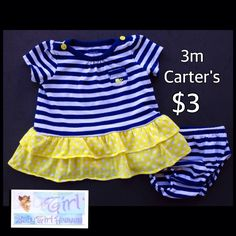 Carter's 3m Infant Girls 2pc Striped Dress Set $3