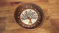 Round beaded tree - $25 - Available Pine Needle Crafts, Pine Needle Baskets, Pine Needles, Gourd Art, Gourds, Craft Projects, Decorative Plates, Hand Weaving, Handmade