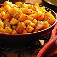 Oven-Roasted Squash with Garlic & Parsley, (acorn and butternut squash mix)