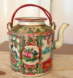 Vintage Chinese Teapot Famille Rose Medallion Hand Painted