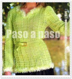 Delicadezas en crochet Gabriela: Suéter largo