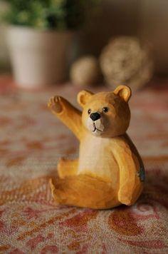 wood bear/Teddy/carved crafts animals/fairy garden/terrarium/ home decor/Christmas birthday gift/delicate miniatures