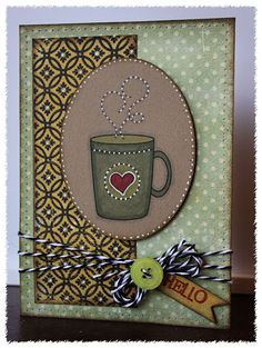 Printed the digi stamp coffee mug on Kraft paper, then colored with Copics and my white gel pen. Note Cards, Thank You Cards, I Love Coffee, Coffee Time, Coffee Cards, White Gel Pen, Paper Crafts, Diy Crafts, Very Merry Christmas