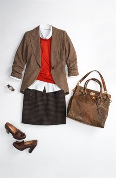 Girly tweed riding jacket, elbow-patch sweater, crisp white shirt, plaid skirt, and distressed leather tote.