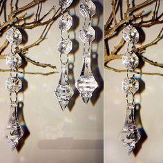 Diamond Drop Clear Crystal Bead Garland -10 Pieces