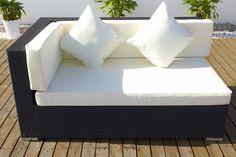 400 Modulelement Sofa aus schwarzem Polyrattan mit rechter Armlehne