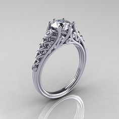 Classic French 14K White Gold 10 Carat Diamond Cubic by artmasters, $1449.00