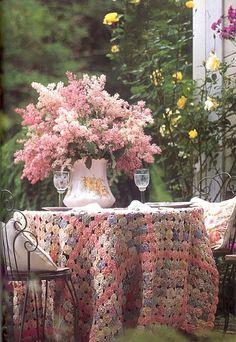 fresh cut lilacs, roses in bloom