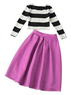 Shop Striped Two-piece Suit With Pleated Midi Skirt from choies.com .Free shipping Worldwide.