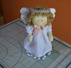 2 anjos de tecido 22 cm