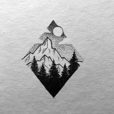 little geometric Mountain what is you favorite mountain or areas you love to go? I don't have one in general more like areas like Alpstein or Engadin. Have a great Week! Pencil Art Drawings, Art Drawings Sketches, Tattoo Drawings, Sketch Drawing, Black Pen Drawing, Ink Illustrations, Montain Tattoo, Mountain Drawing, Mountain Sketch